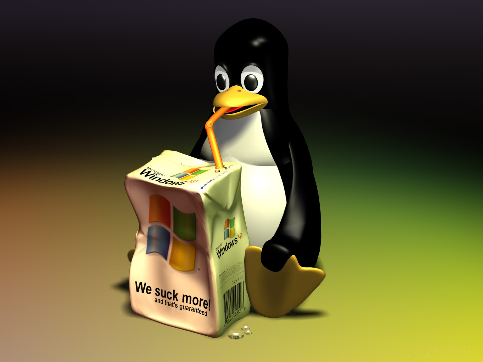 OS wars » linux-wallpaper-1600×1200-tux-we-suck-more
