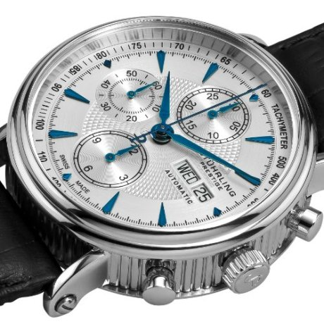 Stuhrling Prestige Men's 363.331K16 Prestige Swiss Made Automatic Valjoux 7750 Paradigm Chronograph Blue Watch